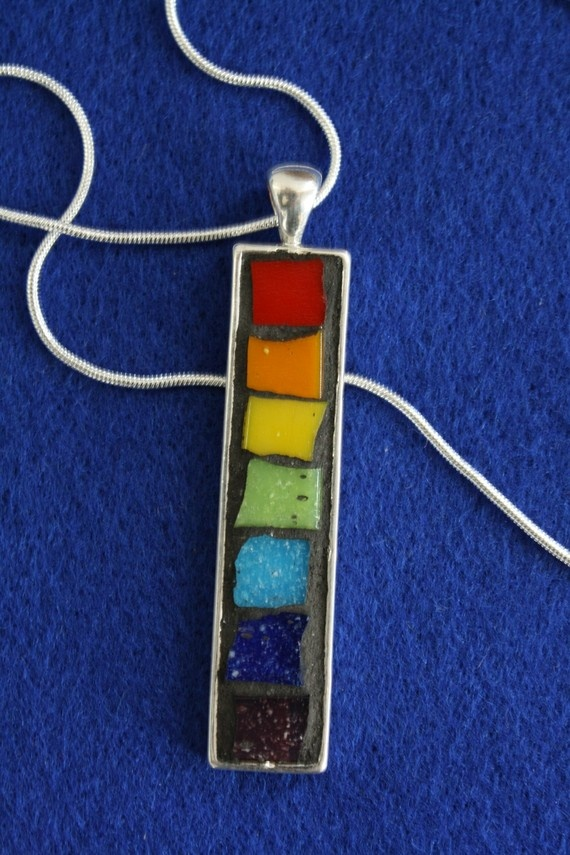 Rainbow Mosaic Pendant Necklace