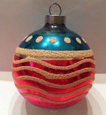 Old Antique VINTAGE SHINY BRITE Christmas Ornament PATRIOTIC FLAG 1940's: