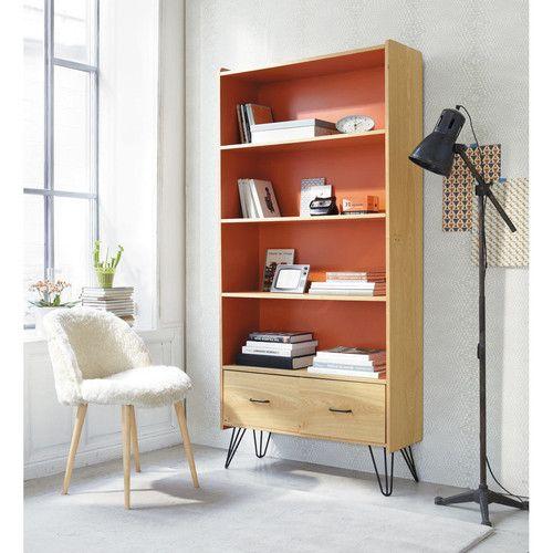 Bibliothèque vintage en bois orange L 85 cm