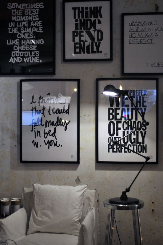 black and white quote wall - cool idea for office