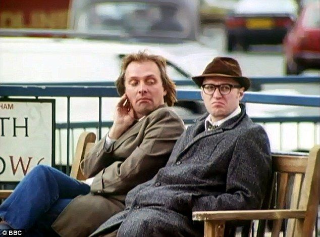 The bench was immortalised by Mayall and his co-star Adrian Edmonson in the BBC Two comedy (pictured)