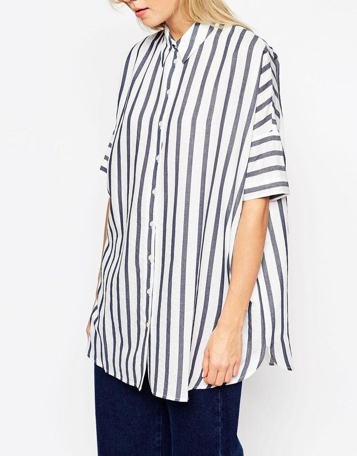 Image 3 ofASOS Oversized Stripe Boyfriend Shirt