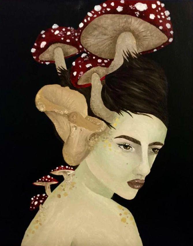 """Clíodhna"" acrylic on canvas 16x20 #faerie #painting #art #fairy #folklore #irish #artist #acrylic #mushrooms #shrooms #drawing"