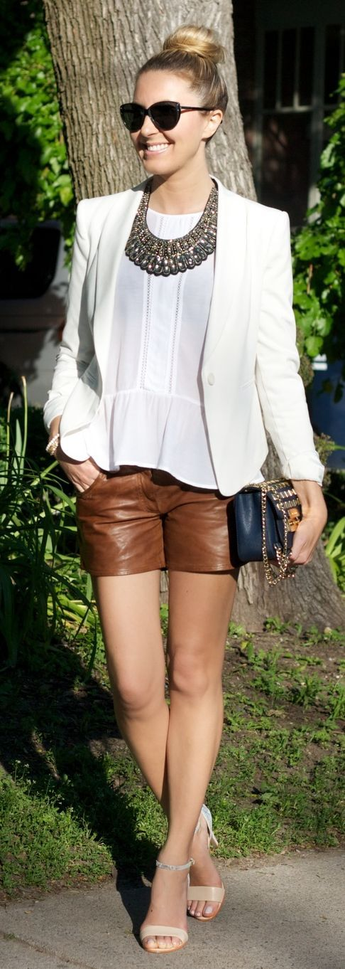 Camel Leather Shorts Outfit Idea