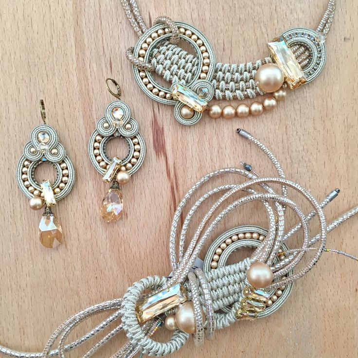Super cool technique with soutache braid, and interesting use of crystal components...