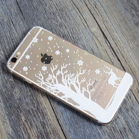 White Tree Deer Snowflake Snow Winter Christmas iPhone 6s 6 Plus 5s 5 Case Transparent Clear Soft Silicone Rubber Printed Case Free Shipping