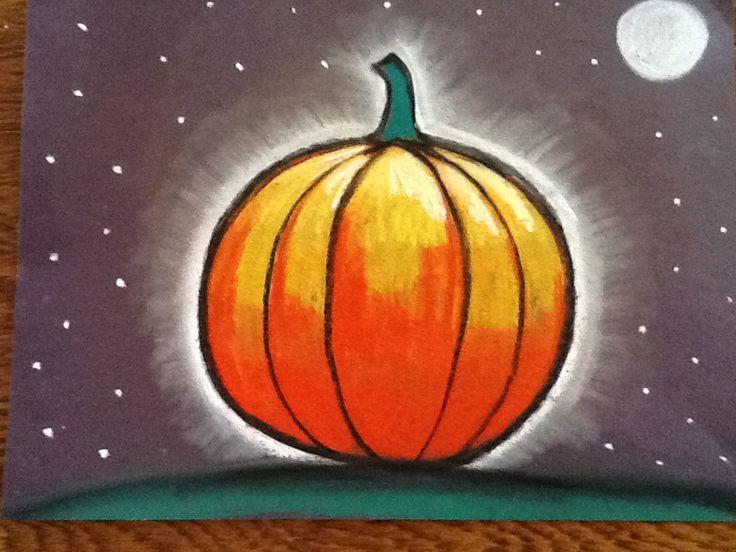 Glowing pumpkin for art class....