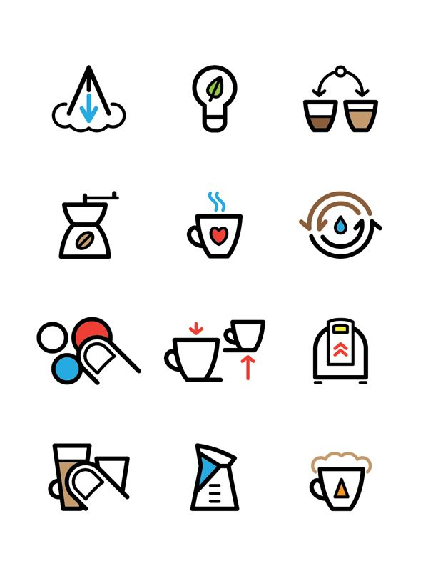 Pictograms for Saeco products catalogue by Znids , via Behance