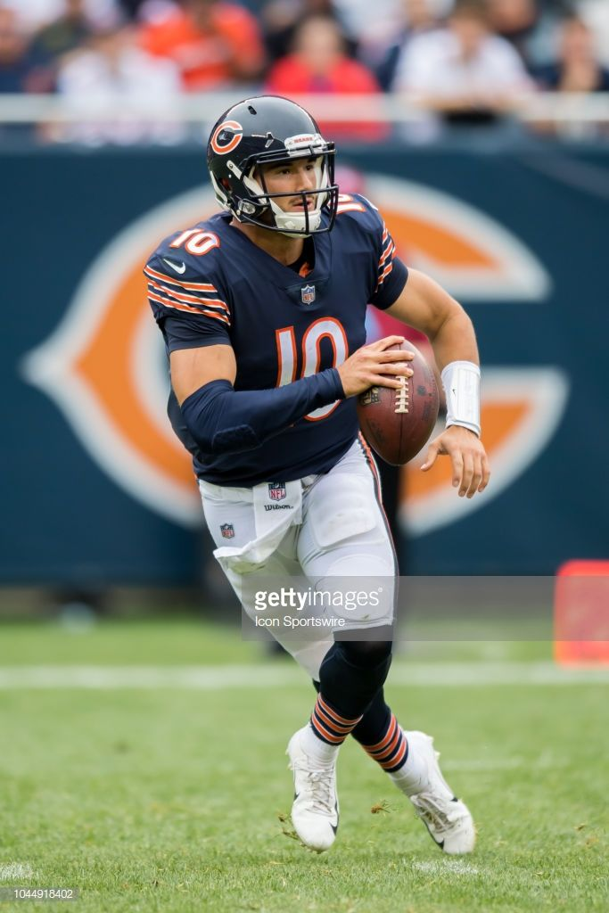 Chicago Bears Quarterback Mitchell Trubisky Controls The Ball During Chicago Bears Football Chicago Bears Nfl Chicago Bears