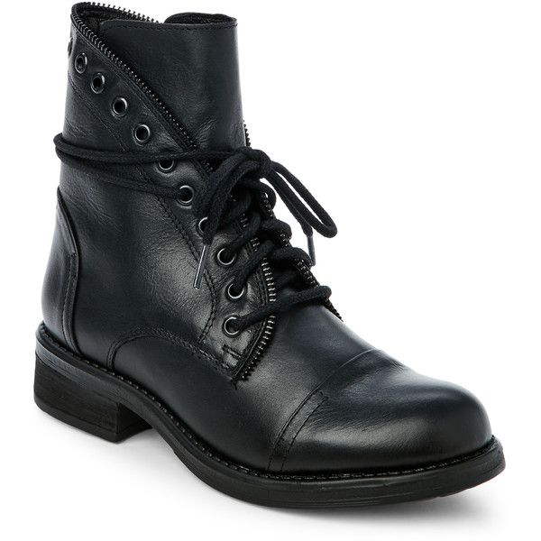 Steve Madden Black Dorrie Zip Side Combat Boots (1.580 ARS) ❤ liked on Polyvore featuring shoes, boots, black, combat boots, laced boots, lace up combat boots, lace up boots and black lace up boots