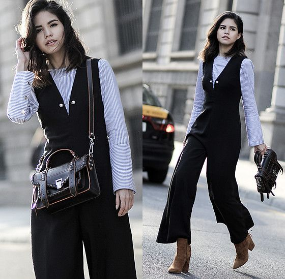 Adriana Gastélum - Asilio Jumpsuit, Proenza Schouler Ps1 Bag, Chinese Laundry Booties - Workwear in 1, 2, 3