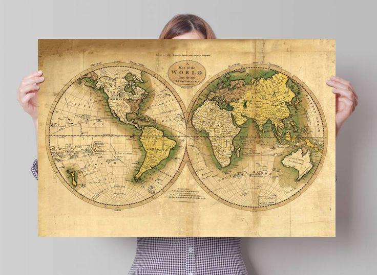 Vintage Wereldkaart | Poster | REINDERS!