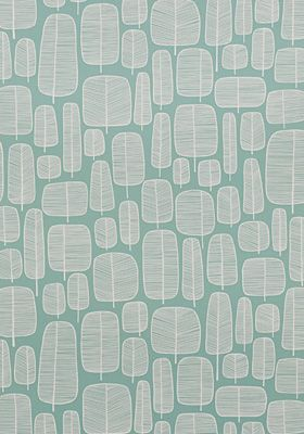 Little Trees Aquamarine Wallpaper by MissPrint. PEFC certified and printed in the UK