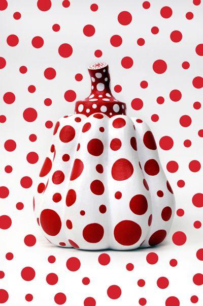 Yayoi Kusama pumpkin sculpture with red polka dots