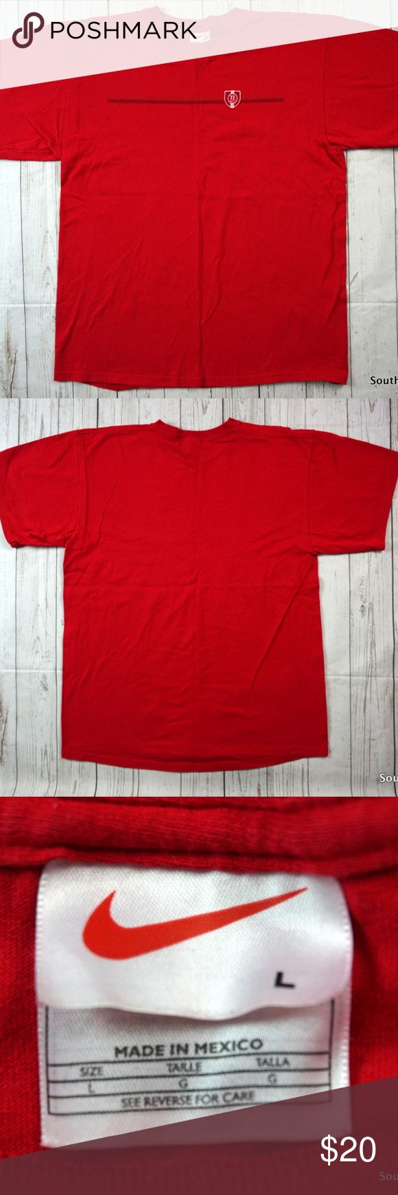 """Vintage 90s Nike Crest Logo T-Shirt Men's XL Red Vintage 90s Nike Crest Logo T-Shirt, Men's Large, 90s Fashion, Vintage Nike, Embroidered Logo, VTG, Air Nike, Red & White  Detailed Measurements: (Front Side of Garment has been measured laying flat on a table)  Sleeves:                                                      7.5"""" inches Chest: (Armpit to Armpit)                        22"""" inches Length:                                                       29"""" inches  Ships in 24 hrs or less…"""