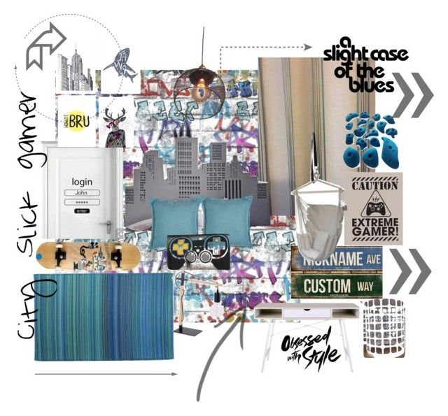 City Slick gamer - the Blues by spacecraftinteriors on Polyvore featuring interior, interiors, interior design, home, home decor, interior decorating and bedroom