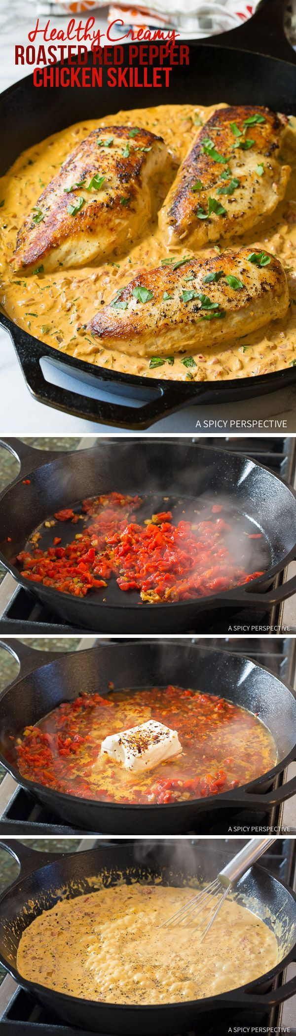 Easy, Healthy Creamy Chicken Roasted in a Skillet with Creamy Rep Pepper sauce. From ASpicyPerspective.com.