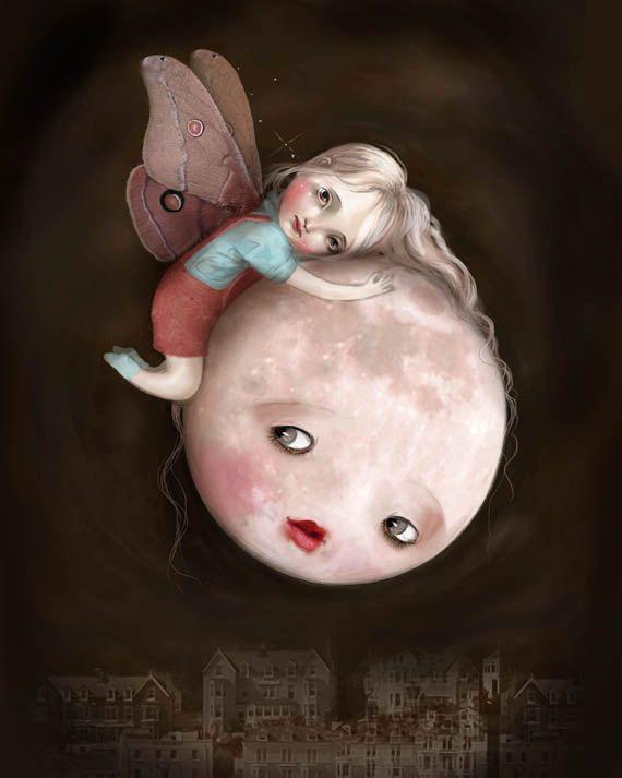 Moth and Moon 8X10  moon face fairy moth art children by Meluseena, $20.00