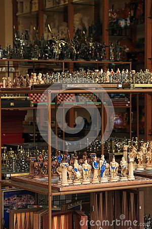 Sets souvenir chess in the form of gods and heroes of the myths of ancient Greece at the gift shop in Hersonissos. Crete, Greece