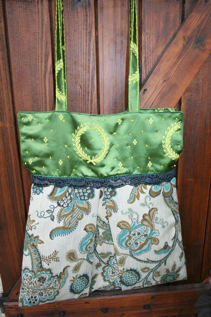 sac cabas chic - tissu aux armes de Napoléon (vert) - tissu ameublement vert-bleu