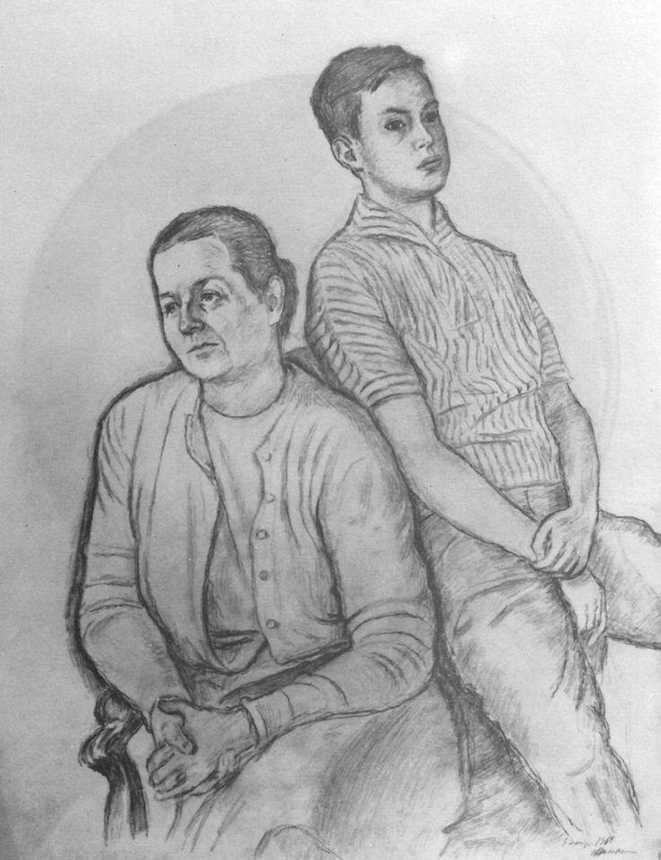 V. Fedayevskaya and son. 1960. Pencil