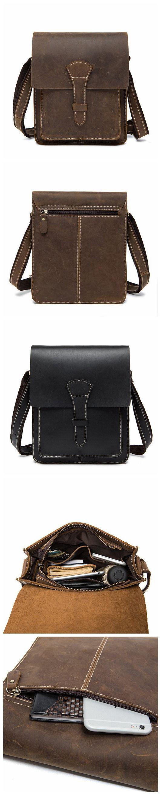 ROCKCOW Handmade Crazy Horse Men 's Leather Shoulder Bag, Vertical Messenger Bag 1093