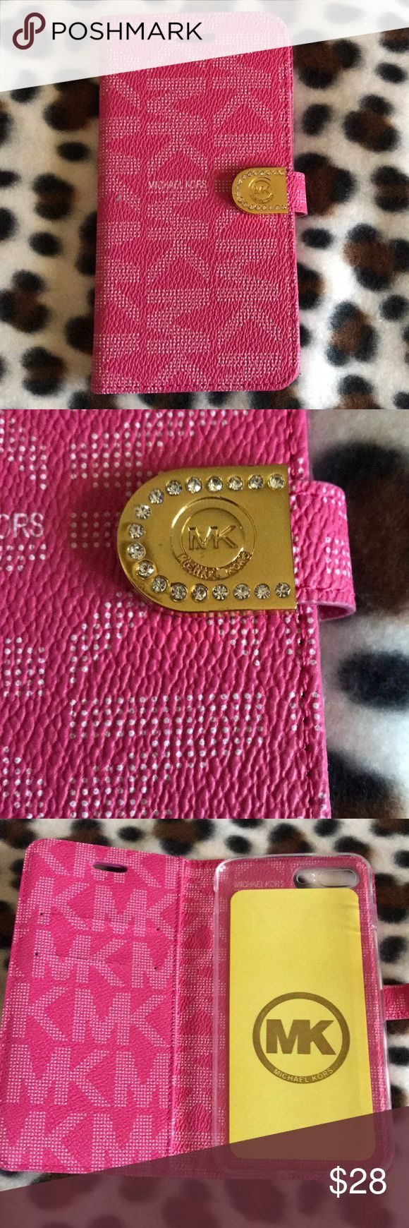 Michael Kors iPhone 7+ folio Pink iPhone 7+ case. Authentic, brand new with packaging. Only removed for photo. KORS Michael Kors Accessories Phone Cases