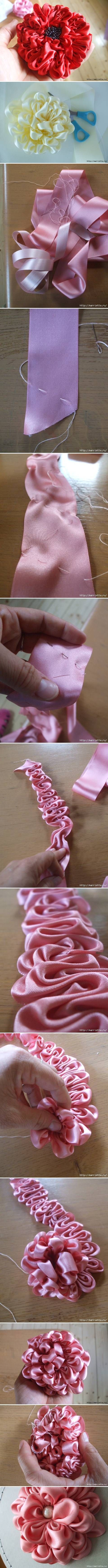 These DIY Ribbon Flowers look awesome! DIY Easy Ribbon Dahlia Flower DIY Project #DIY #Ribbon #Flowers