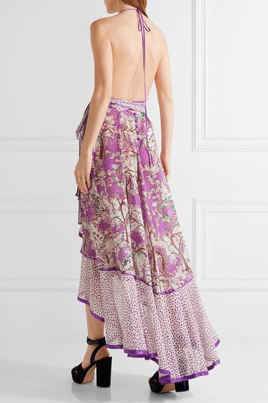 Marc Jacobs - Ruffled Printed Cotton And Silk-blend Halterneck Dress - Lilac - US10
