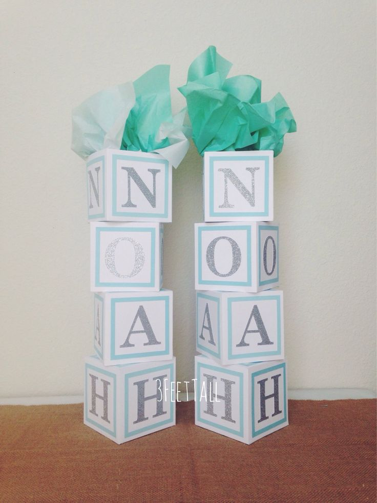 Baby shower centerpiece alphabet block centerpiece baby for Baby name decoration