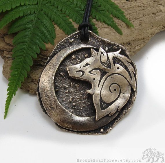 Tribal Wolf Necklace, Crescent Moon Pendant - One of a Kind Jewelry, Bronze Big Wolf Pendant - Gold Moon Necklace with Tribal Wolf