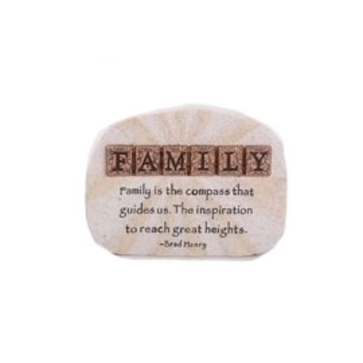 "Roman 4 Words of Hope Inspirational ""Family"" Paper Weight Desk Plaque, Grey Metallic"