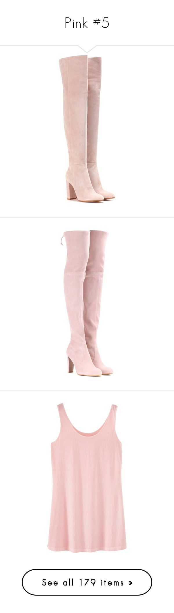 """""""Pink #5"""" by booknerd1326 ❤ liked on Polyvore featuring shoes, boots, heels, botas, pink, suede boots, pink over the knee boots, above the knee boots, gianvito rossi over the knee boots and over-knee boots"""