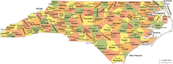 map ofnorth carolina | Map of North Carolina Counties