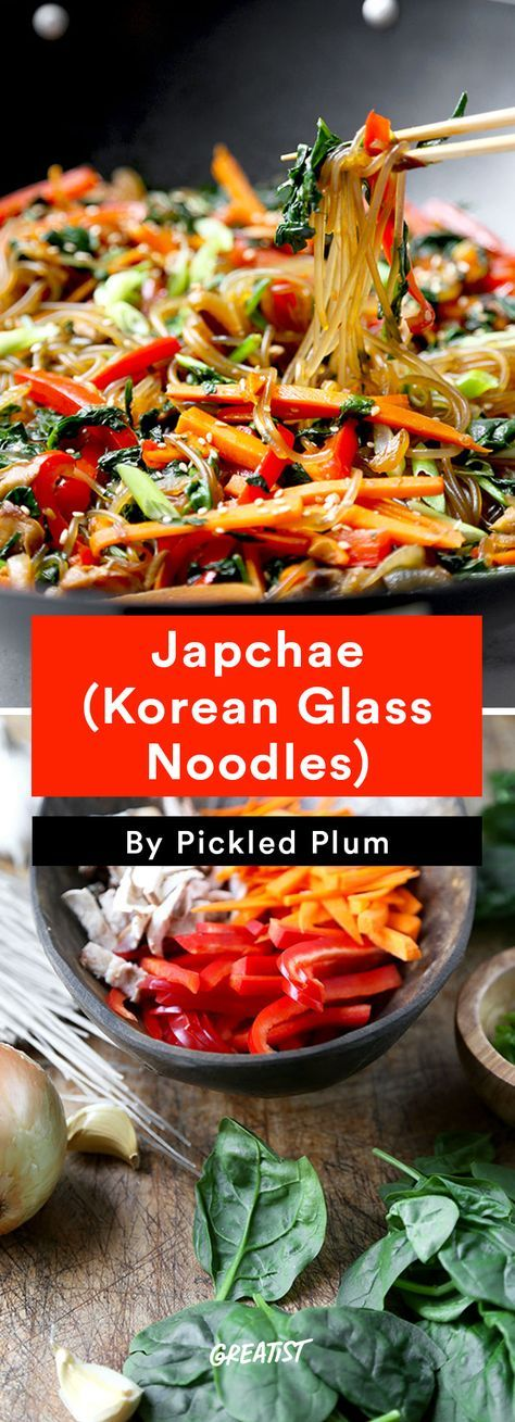 1. Japchae (Korean Glass Noodles) #greatist http://greatist.com/eat/easy-stir-fry-recipes-to-make-during-the-week