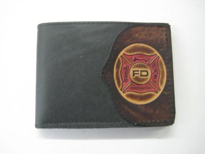 """Firefighter"" Leather Bi-fold Wallet, FREE Matching Key Chain"