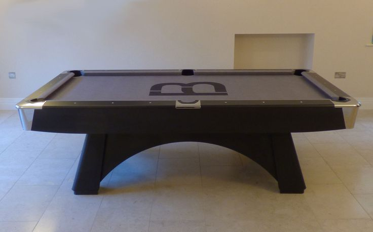 8' American Professional Pool Table, with nickel detail and corners. Large leather pockets and a matt black finish. Fitted with a bespoke cloth and has frame shape #2. Found on www.Luxury-Pool-Tables.co.uk & www.Luxury-Games-Tables.co.uk