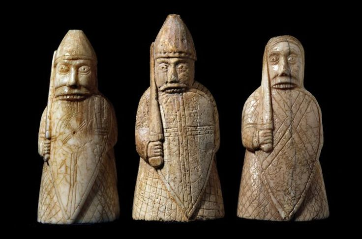 Beserkers of the Lewis Chessmen, late 12th century © The Trustees of the British Museum
