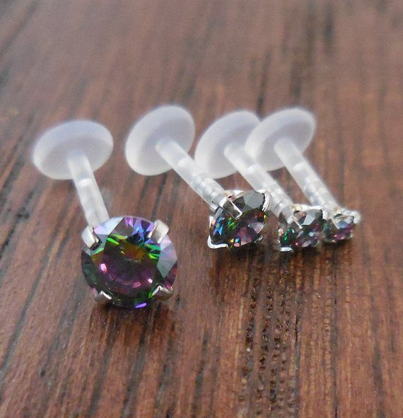 16g Tragus Jewelry Triple Helix Cartilage Earrings Prong Set