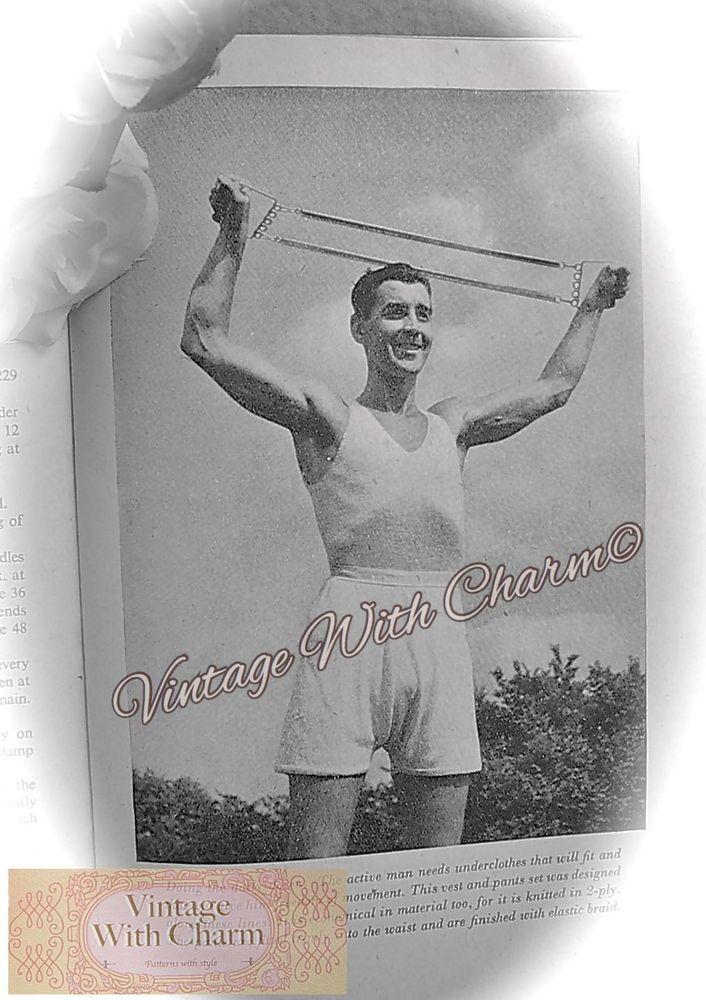 4a4e0d0756 Vintage 1940 s Knitting Pattern Mens Vest   Longer Length Pants Set  Underwear