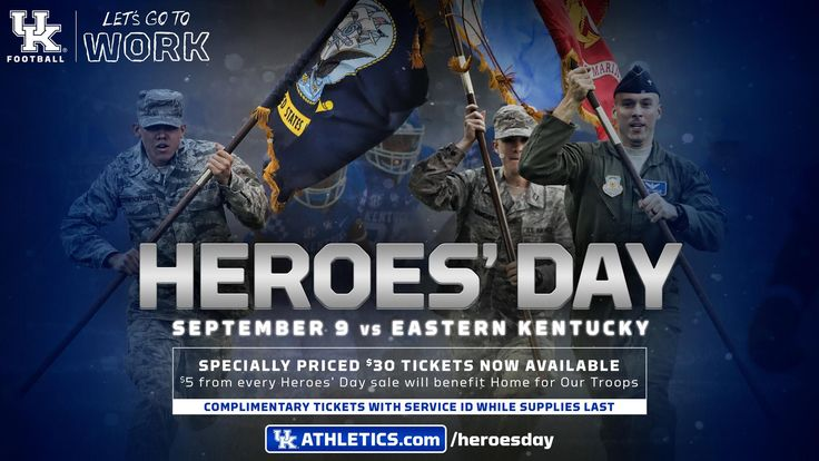 Kentucky football's annual Heroes' Day game is set for the Wildcats' home opener vs. Eastern Kentucky at noon on Sept. 9 at Kroger Field.