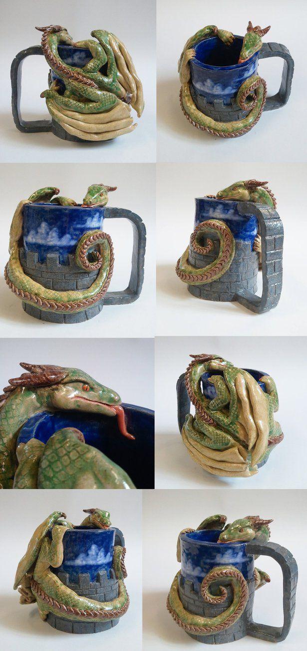 Dragon Mug  finished by Bluetabbycat