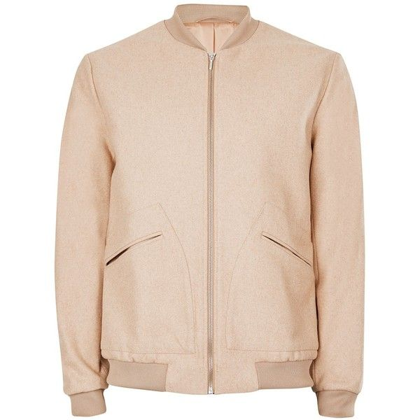 TOPMAN Camel Melton Wool Rich Smart Bomber Jacket ($68) ❤ liked on Polyvore featuring men's fashion, men's clothing, men's outerwear, men's jackets, brown, mens brown jacket, mens camel jacket, mens bomber jacket and mens brown leather bomber jacket