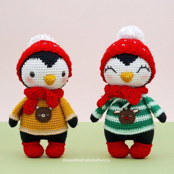 PADRÃO AMIGURUMI DO GANCHO: Pinguim de Kuku (inglês / francês / espanhol), Natal de crochê