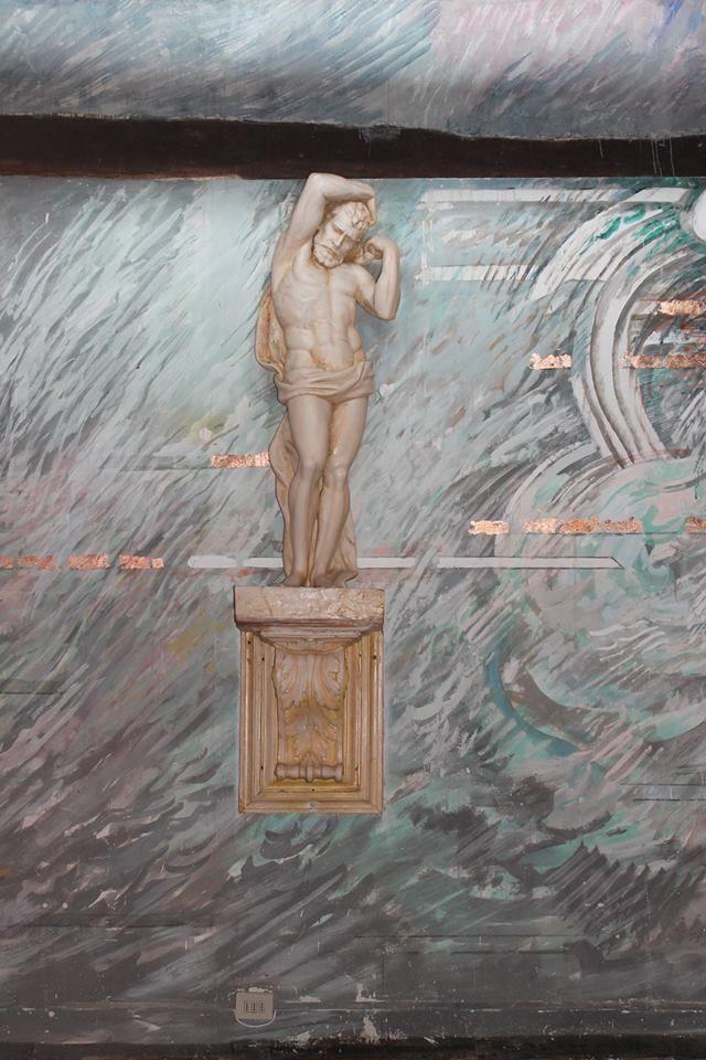 "April 2014 - artist Emilio Farina completing his mural painting representing the 4 elements in the ""Emilio Farina Suite"" - Papal Villa, Relais La Suvera, Tuscany"