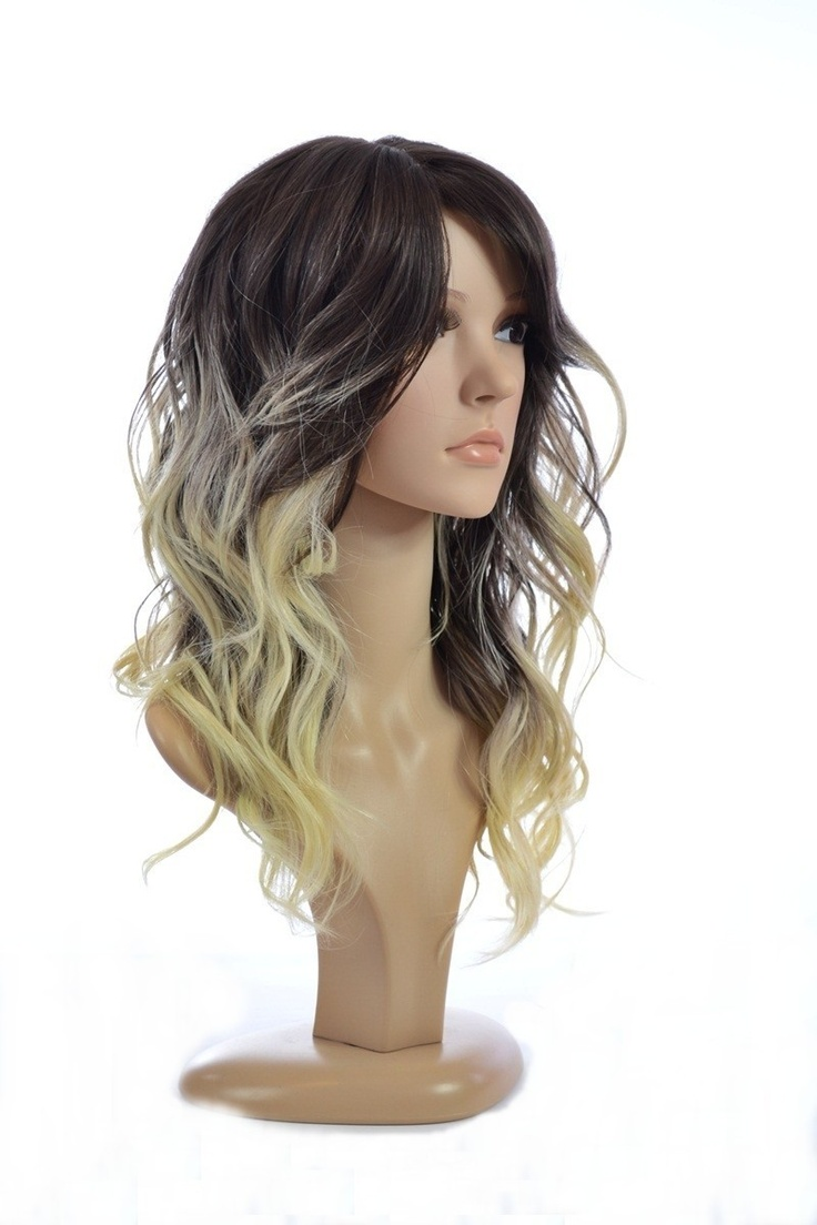 Ombre 2 Tone Human Hair Blend Wig Long Ombre Curly Wig