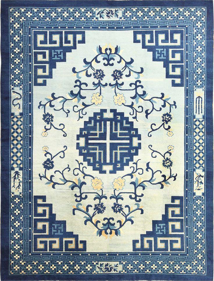 Light Blue Room Size Antique Peking Chinese Rug 49120