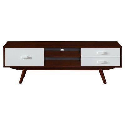 Retro Wood Veneer 65 TV Stand With Storage   Walnut (Brown)   Techni Mobili