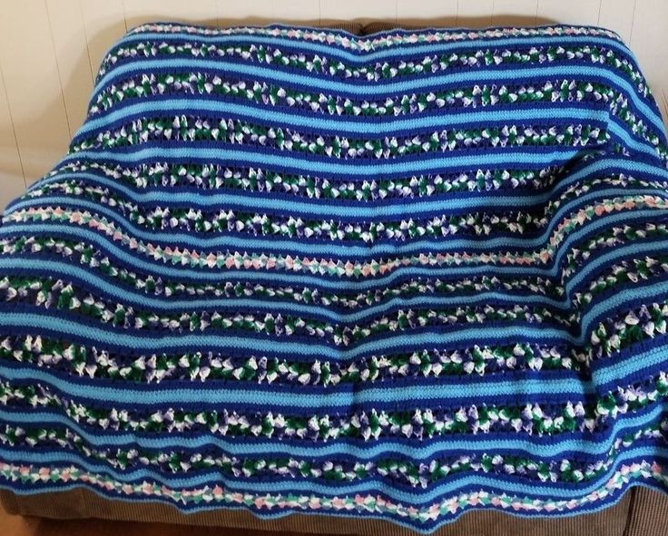 """Crochet Afghan 77"""" X 54"""" Blues Purple Green Pink Hand Made Bed Cover Vintage"""