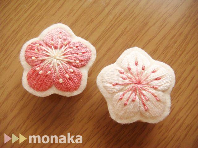 刺繍の帯留め 梅の花